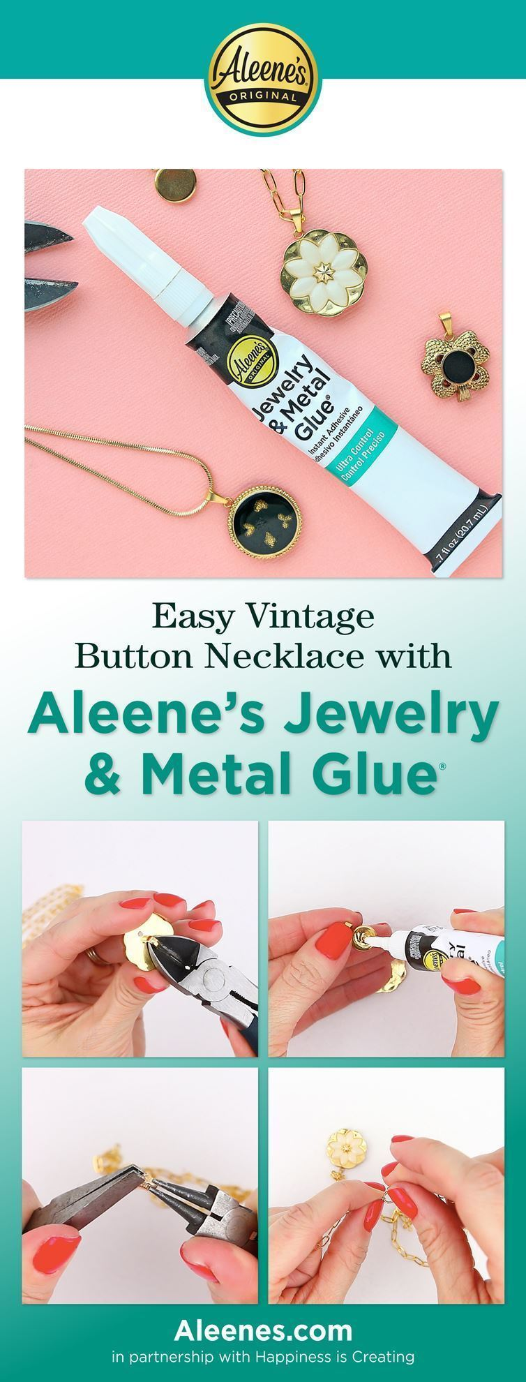 Easy Vintage Button Necklace with Jewelry Glue