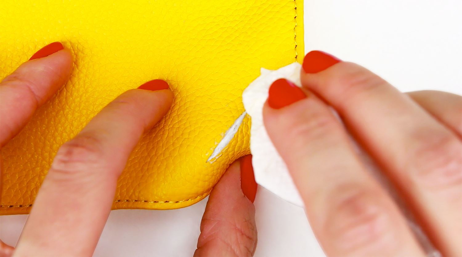 Wipe away excess glue with damp cloth
