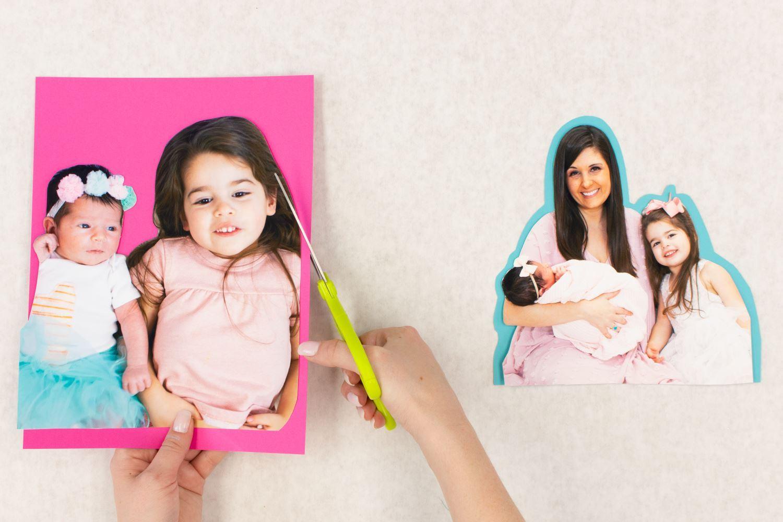 Cut around photos and cardstock