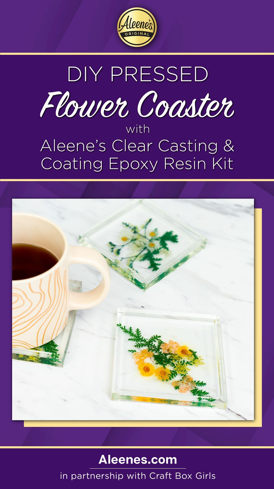 Picture of DIY Epoxy Resin Pressed Flower Coasters