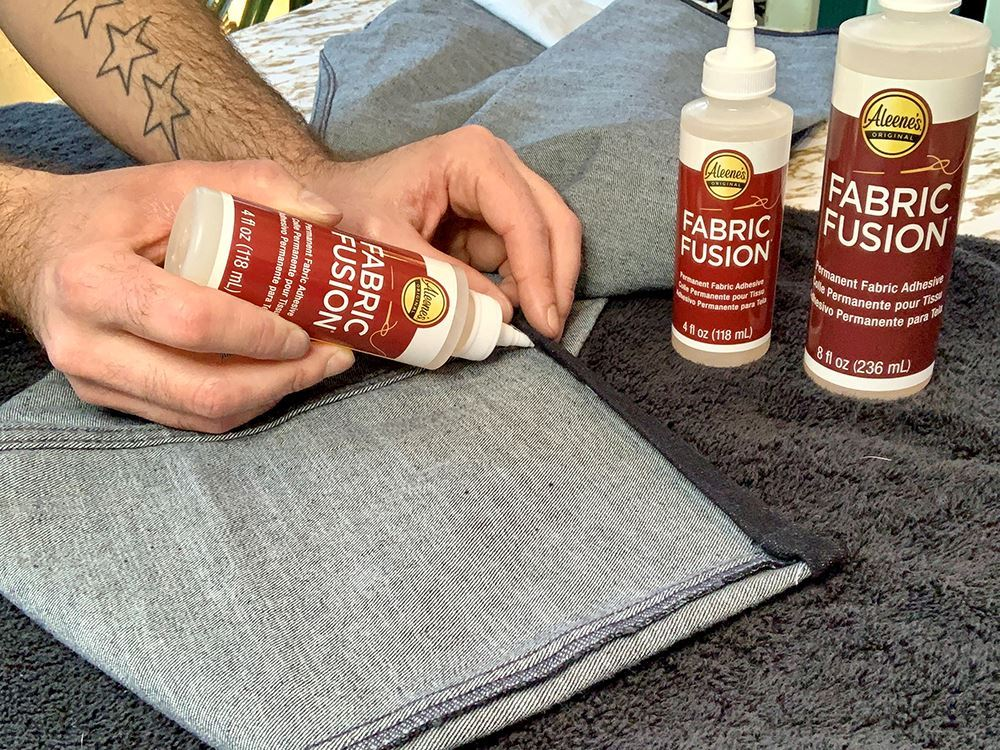 Apply Aleene's Fabric Fusion under the new hem