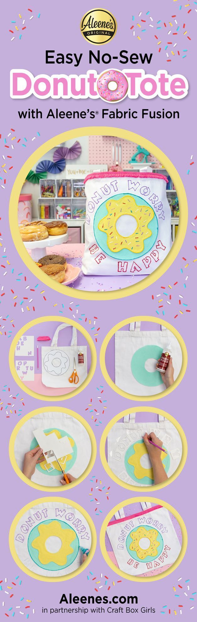 No-Sew Donut Tote with Fabric Glue