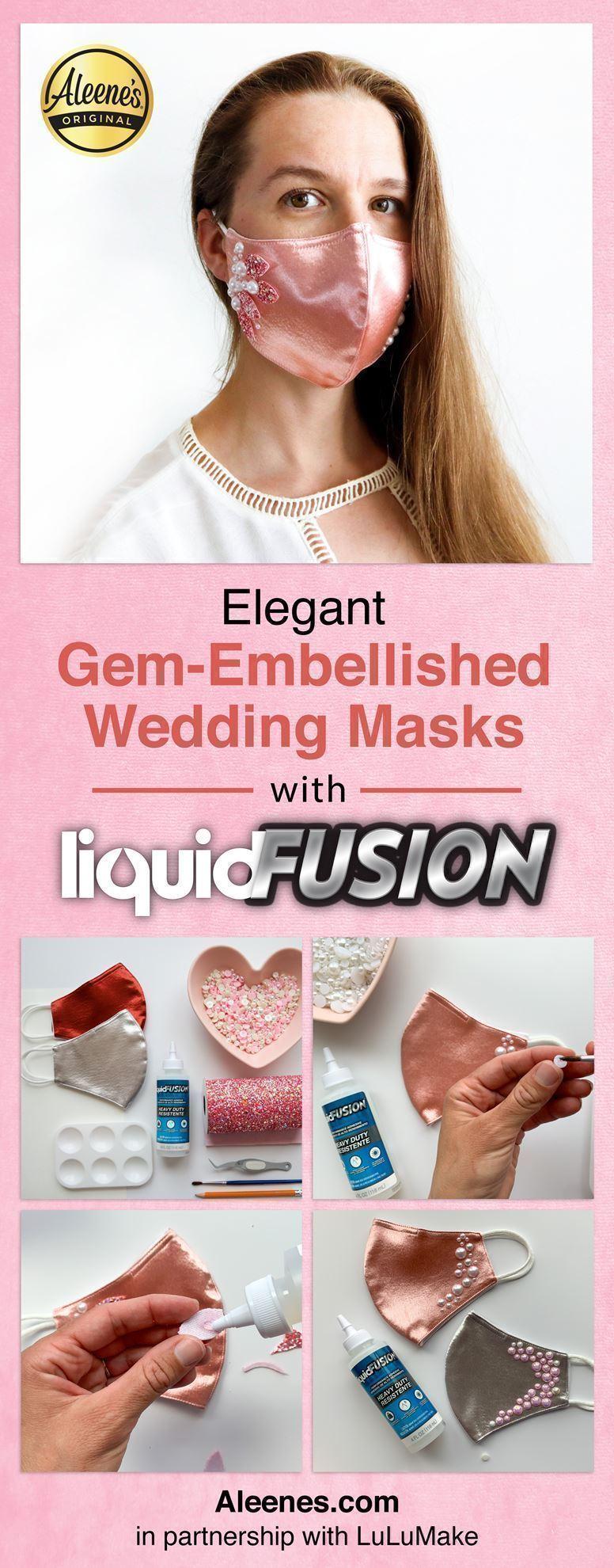Gem-Embellished Bridal Face Masks with Liquid Fusion