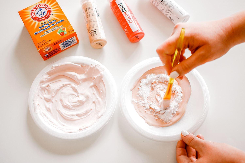 Mix baking soda into paints