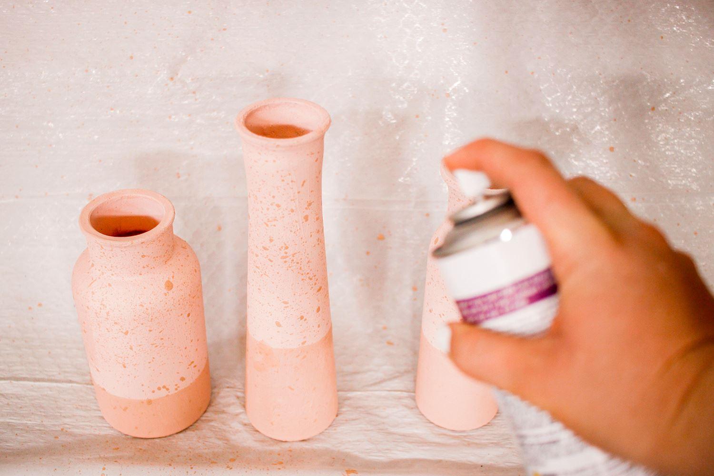 Spray matter sealer over the vases