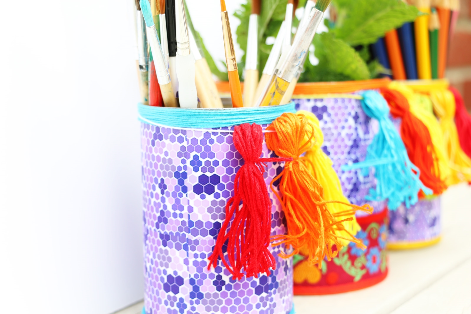 Picture of How to Glue Fabric and Paper onto Metal: Colorful Boho Can Organizers