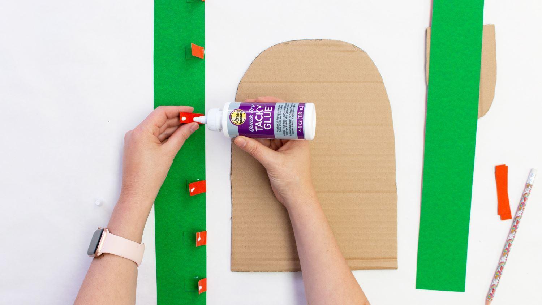 Add a dot of glue to each strip
