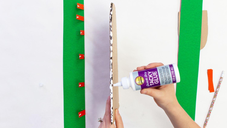 Add glue around cardboard
