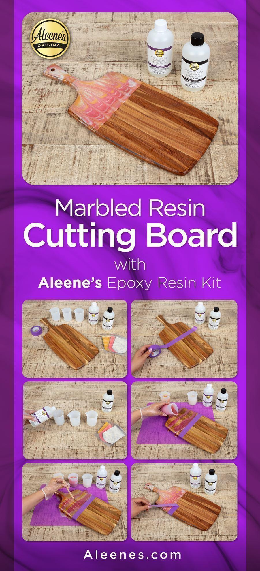 Marbled Resin Cutting Board DIY