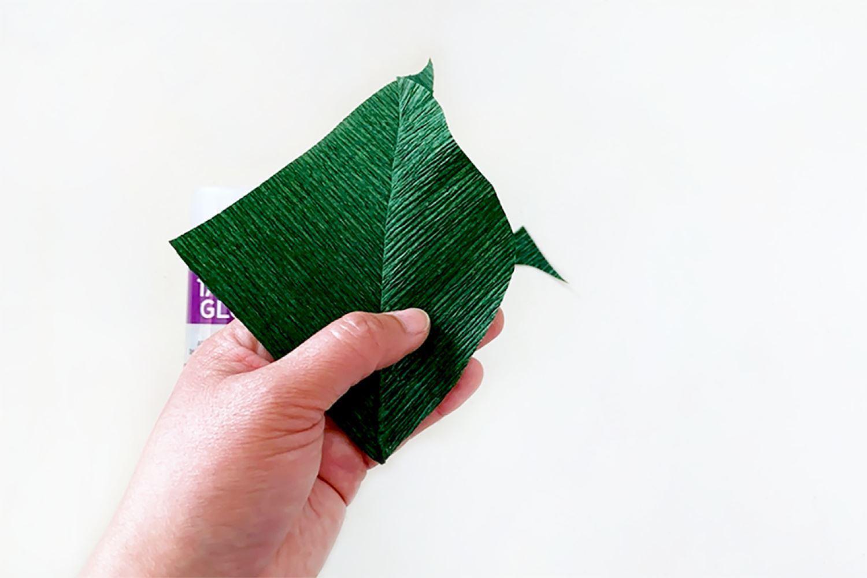 Open kite shape and trim into leaf shape