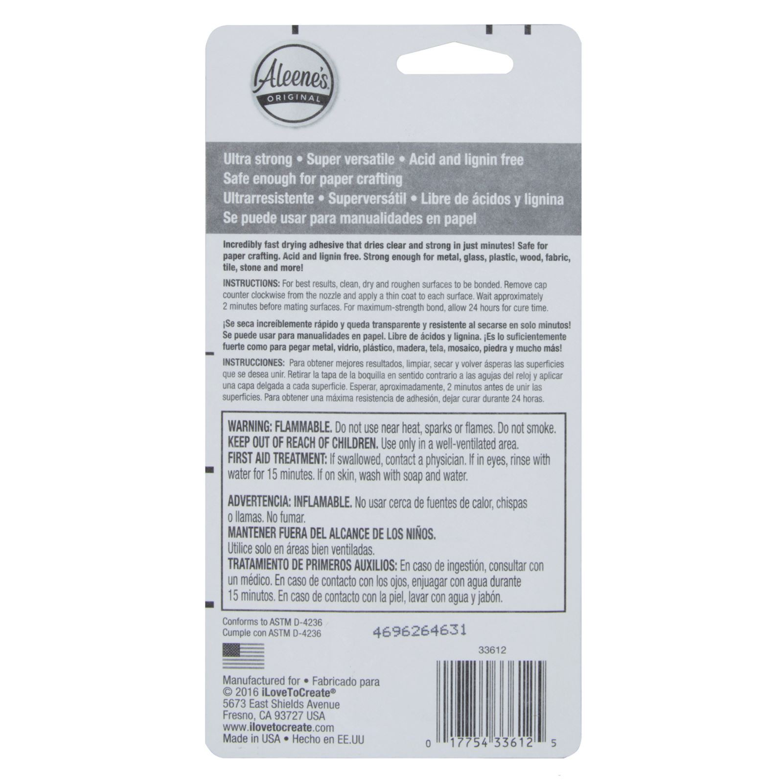 Aleene's® Rapid Dry Mixed Media Adhesive™ back package