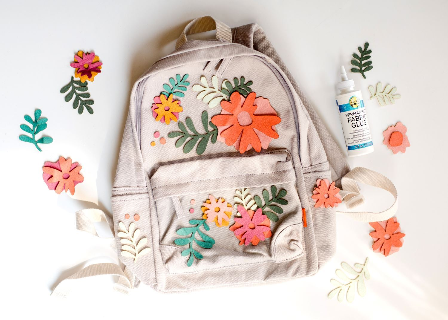 Lay out flowers on backpack